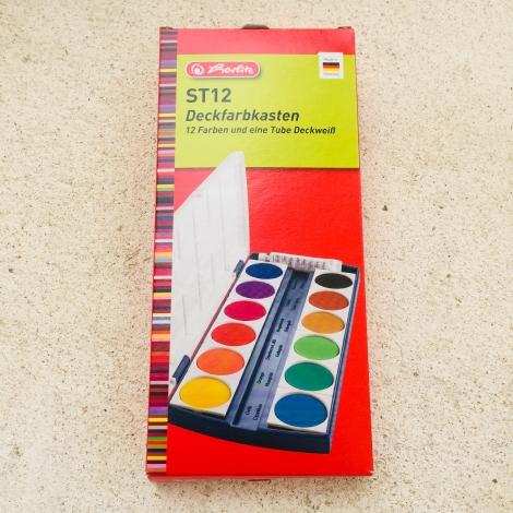 Deckfarbkasten Herlitz, 12 Farben / Acuarelas, 12 colores